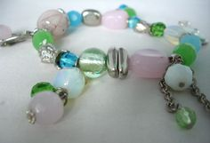 Pastel Glass Bead Charm Bracelet- Multicolored- Blue, Pink, Green, White - Glass & Metal Beads - Elastic- Gift Idea - Fashion Jewelry