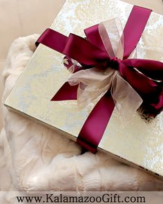 Ultra-Luxe Holiday Gift Wrapping for Her - A Sangria Satin and Champagne Organza topped Decorative Foil Gift Box