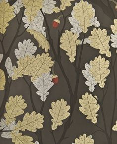 Feuille de Chene Wallpaper Black wallpaper with metallic silver and gilver oak tree illustration and cherry red acorns.