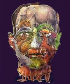 An optical illusion of a human face made up of 28 different animals, in the style of Guiseppe Arcimboldo
