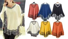 Buy: Women's Batwing Tassled Poncho - 6 Colours for just: £12.00 Cover up in a flash with the Women's Batwing Tassled Poncho      Available in white, yellow, black, orange, navy blue and rose red      Includes cosy ribbed sleeves to add shape and keep you warmer      Looks chic teamed with jeans or leggings      Plain body with a stylish patterned hem and colourful tassels to add texture    ...