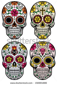 Day Of The Dead Skull Vector Set - stock vector