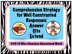 Comprehension Strategy: ACE Those Questions! from Miss Alaneious Educational World on TeachersNotebook.com -  (6 pages)  - This packet is a set of three mini-posters which each explain a component of a comprehension strategy that will aid students in constructing written responses!