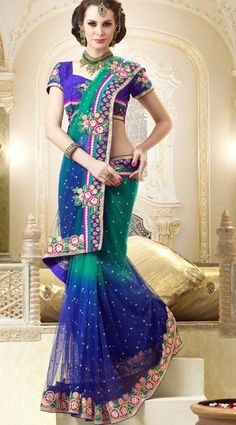 $142.39 Blue Net Saree 19671 With Unstitched Blouse