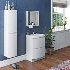 Mode Harrison white furniture package with floorstanding vanity drawer unit Contemporary Bathrooms, Contemporary Furniture, White Bathroom Mirror, Small Bathroom, Family Bathroom, Bathroom Ideas, Vanity Drawers, Vanity Units