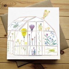 GREENHOUSE - Greeting Card by Lianne Harrison for Paperwhale Cards - www.lianneillustrates.etsy.com