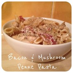 Lo-Fat Bacon & Mushroom Penne Pasta with fat-free natural Fromage frais Grub Recipes, Pasta Recipes, Recipies, Cooking Recipes, Healthy Recipes, Bacon Mushroom, Mushroom Pasta, Healthy Cooking, Healthy Eating