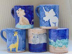 Hand Painted Vietri pottery Mugs  Wild by PulcinellaCeramics