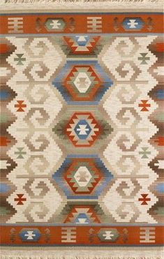 UŞAK-USK02-R SAF YÜN Neutral Carpet, Textured Carpet, Carpet Colors, Southwestern Quilts, Indian Rugs, Simple Embroidery, Kilims, Bargello, Kilim Rugs