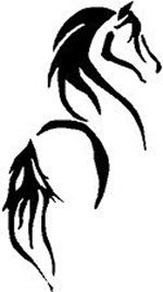 horse tattoo! maybe add a tribal design and a watercolor splash throughout it