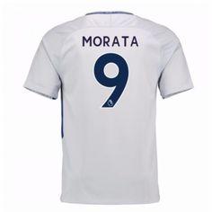Chelsea Alvaro Morata 9 Udebanetrøje 17-18 Kort ærmer #Billige Fodboldtrøjer