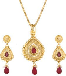 Buy Maroon  and  Golden Beads  and  Stone Gold platted Pendants Pendant online