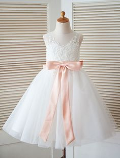 9ee72a863 White Flower Girl Dress Princess Satin Bow Lace Sleeveless Tulle Tea-Length  Pageant Dress