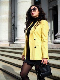 Yellow Blazer and Mini Skirt