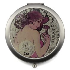 Mont Bleu® Compact mirror with Zodiac Sign Design. Each compact mirror could best be described as a stylish essential! Looking good is important, both in the style of these superb compact mirrors, and in the reasons for using them! Travel Makeup Mirror, Steel Gifts, Unique Mirrors, Art Deco Mirror, Magnifying Mirror, 12 Zodiac Signs, Compact Mirror, Alphonse Mucha, Sign Design