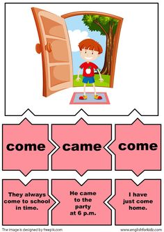 English for Kids Step by Step: Irregular Verbs Puzzle Flashcards (Part Verb Worksheets, English Worksheets For Kids, English Lessons For Kids, Kids English, Learn English, English Tips, English Class, Verbs For Kids, All Verbs