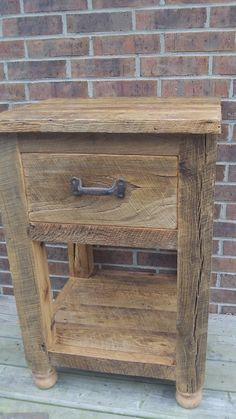 Made To Order Rustic Barn Wood End Table With a Drawer and an Open Shelf by timelessjourney on Etsy https://www.etsy.com/listing/190073785/made-to-order-rustic-barn-wood-end-table