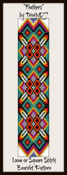 """Feathers"" - Loom or Square Stitch Bracelet Pattern - In The RAW. Please follow this link for more info: https://www.etsy.com/listing/156575087/bp-loom-020-feathers-loom-or-square  #beading #beadwork #loom #pattern #cross_stitich"