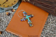 Beaded Wire Cross Ornament Multi Colored Millefiori by rustiqueart