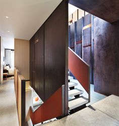 DWA Dean/Wolf Architects Loft Renovation and Addition in TriBeCa, Manhattan, New York Inverted Warehouse-Townhouse Modern Interior Design, Interior Architecture, Warehouse Renovation, Staircase Handrail, Concrete Staircase, Staircases, White Stairs, New York Loft, House Viewing