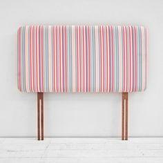 Children S Cotton Pink White Blue Striped Single Bed Divan Headboard Co Uk