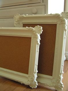 thrift-ed frames + cork-board - LOVE THESE FRAMES.