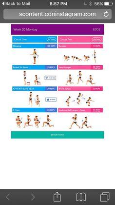 BBG Week 23 Monday Bikini Body Guide by Kayla Itsines, weeks (complete) Kayla Workout, Kayla Itsines Workout, Workout Challenge, Body Challenge, Workout Ideas, Bikini Body Guide, Bbg Stronger, Lower Body Stretches, Forme Fitness