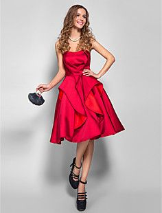 d8ed4865d8cf   99.99  A-Line Strapless Knee Length Satin Cocktail Party   Prom Dress  with Pleats by TS Couture®