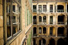 Inner court in apartment building