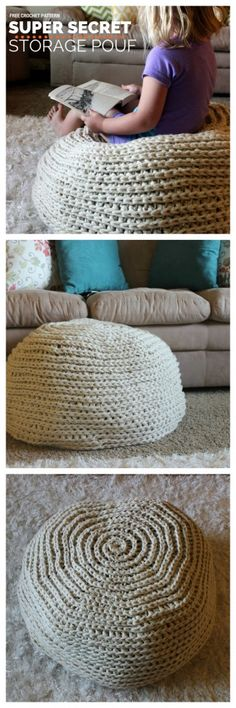Super Secret Storage Pouf - Free Crochet Pattern.  A perfect little floor pouf that doubles as secret storage and an ottoman!