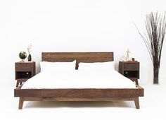 Mid-century modern wooden bed. Dark wood, extremely simple.  The Bosco Modern Bed Walnut Bed Midcentury Modern by moderncre8ve
