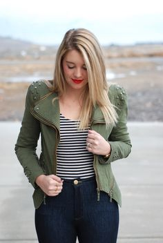 Studded army jacket, striped top, jeggings, and gold booties. Winter outfit from www.theredclosetdiary.com