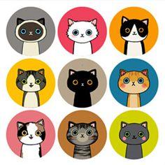 Kawaii Cat & Drinky Doll Sticker Set