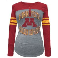 5th & Ocean Women's Minnesota Golden Gophers Vintage Raglan T-Shirt ($36) ❤ liked on Polyvore featuring tops, t-shirts, grey, long sleeve tee, striped shirt, vintage t shirts, striped long sleeve shirt and raglan t shirt
