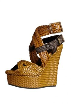 Burberry - Woven leather wedge