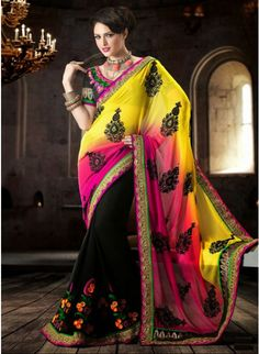 Elegant Black With Pink & Yellow Ombrey Georgette #Saree With Resham Thread Work