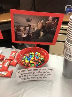 """""""The Office"""" themed party snacks Office Themed Party, Office Birthday, 13th Birthday Parties, 14th Birthday, Office Parties, Birthday Party Themes, Office Party Decorations, Office Themes, The Office"""