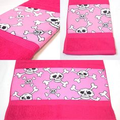 Hot Pink Skulls Bath Towel by Pornoromantic www.pornoromantic.etsy.com #pornoromantic #etsy #bathroom #towel #bathtowel #homedecor #homeaccessories #skulls #skull #hotpink #pink
