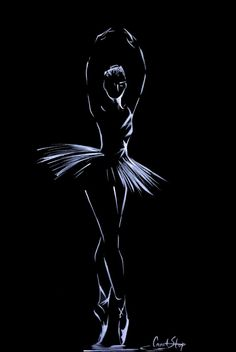 Ink Drawing Ballerina Drawing Original Drawing Art White on Black by CanotStop - Ballerina Kunst, Ballerina Drawing, Ballet Drawings, Dancing Drawings, Art Drawings, Dancer Drawing, Art Ballet, Ballet Painting, Painting & Drawing