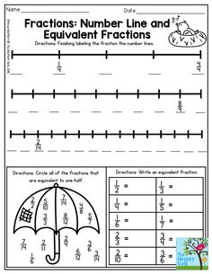 Fractions: On a Number Line and with Equivalent Fractions- perfect for 3rd grade! This one is in the April NO PREP Packet for Third Grade.