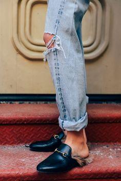 2016年2月10日  标签 牛仔裤, 古奇, 毛皮, 平底鞋, 纽约, FW16女装