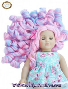 """""""Cotton Candy Curls"""" doll wig now available on our website in very limited quantities."""