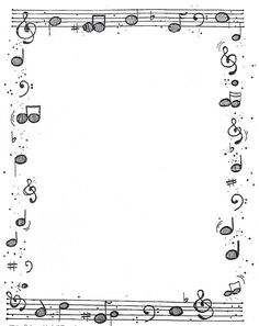Many borders here Page Borders Design, Border Design, Borders For Paper, Borders And Frames, Music Border, Music Drawings, Music Worksheets, Music Crafts, Paper Frames