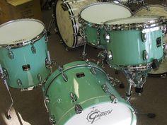 Gretsch drums in Sea Foam green.