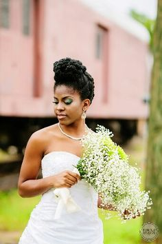 Natural hair bride lovepisode ii at seaboard station raleigh durham chapel Natural Bridal Hair, Natural Wedding Hairstyles, Elegant Hairstyles, Curly Hair Styles, Natural Hair Styles, Bridesmaid Hair Updo, African American Weddings, Bridal Photoshoot, Black Hair Care