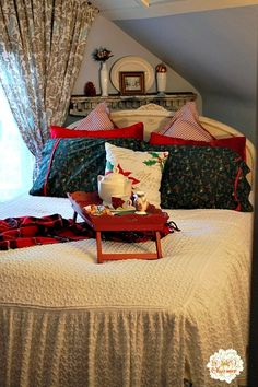 My 1929 Charmer   Christmas In Our Master Bedroom And Dressing Room   http://my1929charmer.com  rustic shelves on both sides of corner?