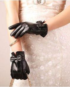 Women Fashion Lady Genuine Lambskin Leather Winter Warm Little Bow Luxury Gloves…