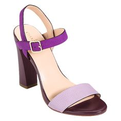 """Cole Haan Minetta Sandal in Larkspur/Aster Purple.   Suede buffed outsole, Concealed Nike AIR technology for ultimate comfort, 4"""" leather-wrapped heel"""