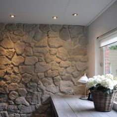 Natural Stone Wall, Natural Stones, Kitchen Interior, Interior And Exterior, Stone Wall Living Room, Rock Wall, House Wall, Sweet Home, Rustic