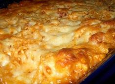 This is a recipe for a creamy baked chicken spaghetti.
